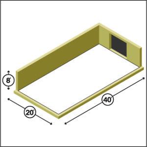 20 x 40 Storage Unit 1-Door