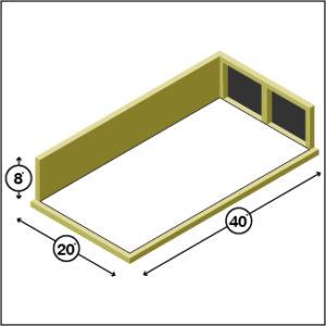 20 x 40 Storage Unit 2-Door